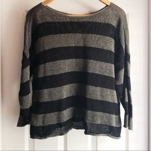 Eileen Fisher Green & Black Striped Knit Sweater